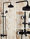 Antichizat Piesă Centrală Duș Ploaie Valvă Ceramică Trei găuri Două mânere trei găuri Bronz patinat , Robinete de Duș