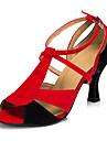Damă Latin Piele Sandale Adidași Profesional Toc Îndesat Roșu-negru