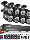 Sannce® 8ch cctv säkerhetssystem 1080p ahd / tvi / cvi / cvbs / ip 5-i-1 DVR med 8stk 2.0mp kameror 1tb hdd