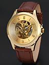 WINNER Heren Skeleton horloge Polshorloge mechanische horloges Automatisch opwindmechanisme Leer Zwart / Bruin 30 m Hol Gegraveerd Analoog Luxe Klassiek Vintage - Goud Zwart