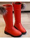 Fete Pantofi Imitație de Piele Toamnă Iarnă Confortabili Cizme de Combat Cizme Pentru Casual Negru Rosu Vișiniu
