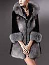 Γυναικεία Καθημερινά Χειμώνας Κανονικό Γούνινο παλτό, Μονόχρωμο Λαιμόκοψη V 3/4 Μήκος Μανικιού Ψεύτικη Γούνα Γκρίζο XL / XXL / XXXL