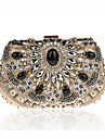 Women\'s Bags Polyester Evening Bag Crystal Detailing for Wedding Event/Party All Seasons Gold Black Silver