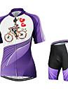 Arsuxeo Dam Kortärmad Cykeltröja med shorts Blommig/Botanisk Cykel Shorts Tröja Klädesset, Snabb tork, Anatomisk design, Andningsfunktion
