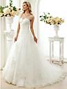 Linha A Princesa Decote Princesa Cauda Capela Renda Tule Vestidos de noiva personalizados com Micangas Apliques de LAN TING BRIDE®