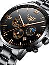 Bărbați ceas mecanic Japoneză Calendar / Cronograf / Rezistent la Apă Oțel inoxidabil Bandă Lux / Elegant / Crăciun Negru / Argint