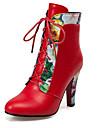 Dame Cizme Primăvară Toamnă Iarnă Pantofi la Modă Imitație de Piele Birou & Carieră Rochie Casual Toc Gros Dantelă Negru Roșu Alb Altele