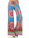 Damă Picior Larg Simplu Talie Medie,Micro-elastic Picior Larg Pantaloni Imprimeu