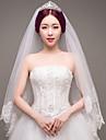 Două Straturi Margine cu Aplicație de Dantelă de Mireasă Nuntă Voal de Nuntă Voaluri Lungime Până la Vârfurile Degetelor Cu Paiete