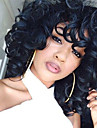 Synthetic Wig Women\'s Loose Wave Black With Bangs Synthetic Hair Black Wig Medium Length Capless Natural Black
