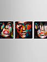 Människor Klassisk, Tre paneler Duk Fyrkantig Tryck väggdekor Hem-dekoration