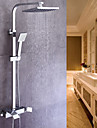 Contemporary Centerset Handshower Included Ceramic Valve Single Handle Two Holes Chrome, Shower Faucet