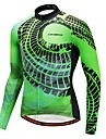 CYCOBYCO رجالي كم طويل جورسيه الدراجة - أخضر كلاسيكي موضة الدراجة قميص طويل الذراعين جورسيه قمم, سريع جاف شرائط عاكسة بوليستر 100 ٪ بوليستر / قابل للبسط / متقدم