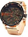 JUBAOLI Hombre Reloj de Pulsera Cuarzo De Gran Tamano Acero Inoxidable Oro Rosa Cool Esfera Grande Analogico Azul Claro Amarillo Verde