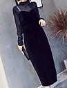 Pentru femei Teacă Rochie - Peplum, Culoare solidă Stil Nautic Talie Înaltă Maxi