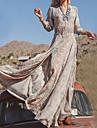 Femme Boheme Grandes Tailles Vacances Maxi Balancoire Robe - Imprime, Tribal Col en V Printemps Automne Kaki XXXL 4XL XXXXXL Coton Manches Longues