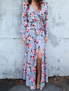 Femme Gaine Robe - Style floral, Geometrique Col en V Maxi