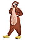 Pijama Kigurumi Maimuţă Pijama Întreagă Costume Lână polară Fibră sintetică Maro Cosplay Pentru Adulți Sleepwear Pentru Animale Desen