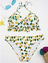 Dame Imprimeu Halter Bikini Costume de Baie Floral Dantelat Galben