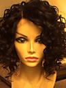 Äkta hår Spetsfront Peruk Brasilianskt hår Vattenvågor Bob-frisyr 130% Densitet Med Babyhår limfria Sidodel Naturlig hårlinje Korta Äkta