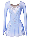 Robe de Patinage Artistique Femme Fille Patinage Robes Bleu/blanc Spandex Strass Paillette Haute elasticite Utilisation Tenue de Patinage