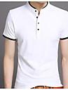 男性用 Tシャツ ベーシック / ストリートファッション スタンド ソリッド / 半袖