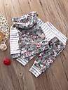 Bebelus Fete Set Îmbrăcăminte Dungi Floral Bumbac Spandex Zilnic Primăvară Manșon Lung Casual Activ Alb
