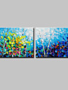 HANDMÅLAD Landskap Blommig/Botanisk Horisontell, Moderna Duk Hang målad oljemålning Hem-dekoration Två paneler