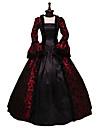 Rokoko / Victoriansk Kostym Klänningar Svart / röd Vintage Cosplay Flocked Långärmad Flamma Ärm