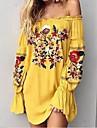 Pentru femei Mărime Plus Size Concediu Bumbac Mâneci Bufante Shift Rochie - Imprimeu, Floral De Pe Umăr Mini