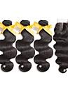 Peruanskt hår Kroppsvågor Hår Inslag med Stängning 3 paket med stängning 8-22tum Hårförlängning av äkta hår Med Babyhår / Förlängning /