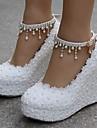 Pentru femei Pantofi Dantelă / PU Primăvară / Toamnă Confortabili Tocuri Toc Platformă Alb / Roz