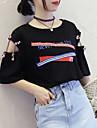 Mulheres Camiseta Basico Estampa Colorida / Letra Branco L / Com Corte