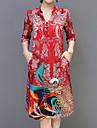 Pentru femei Mărime Plus Size Concediu Boho / Sofisticat Larg Linie A Rochie - Imprimeu, Floral În V Lungime Genunchi / Primăvară / Vară