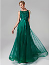 A-Line Scoop Neck Floor Length Tulle / Beaded Lace Prom / Formal Evening Dress with Beading / Appliques by TS Couture®