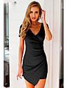 בגדי ריקוד נשים סקיני מכנסיים - אחיד שחור לבן / צווארון V / א-סימטרי / חגים / סקסית