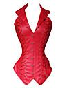 Cosplay Steampunk Costume Pentru femei Corset Negru / Roșu Vintage Cosplay Poliester Manșon scurt