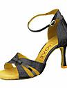 Pentru femei Pantofi Dans Latin / Pantofi Salsa Sclipici Spumant / Imitație de Piele Sandale / Călcâi Cataramă / Legătură Panglică Toc Personalizat Personalizabili Pantofi de dans Argintiu / Albastru