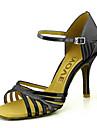 Pentru femei Pantofi Dans Latin / Pantofi Salsa PU Sandale / Călcâi Cataramă / Legătură Panglică Toc Personalizat Personalizabili Pantofi de dans Rosu / Albastru / Auriu / Performanță / Piele