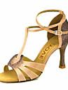 Pentru femei Pantofi Dans Latin / Pantofi Salsa Satin / Mătase Sandale / Călcâi Cataramă / Legătură Panglică Toc Personalizat / Piele