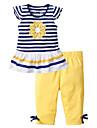 Copii Copil Fete Mată Dungi Manșon scurt Set Îmbrăcăminte