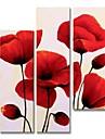 Hang-pictate pictură în ulei Pictat manual - Abstract Floral / Botanic Contemporan Modern pânză