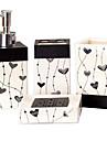 Set d\'Accessoires de Salle de Bain / Porte Brosse a Dent / Savon Vaisselle et supports Creatif Ceramique 4pcs - Salle de Bain