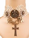 Rozen Kristall Kule Kranier Gotisk Lolita Kryss Gotisk Choker Halskjede Til Fest Skoleball Dame Jente 1 Halskjede Kostyme smykker / Blonde / Steampunk / Clockwork