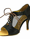 Pentru femei Pantofi Dans Latin / Pantofi Salsa Sclipici Spumant / Imitație de Piele Sandale / Călcâi Cataramă / Legătură Panglică Toc Personalizat Personalizabili Pantofi de dans Argintiu / Rosu