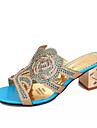 בגדי ריקוד נשים PU קיץ נוחות סנדלים עקב עבה פתוח בבוהן ריינסטון שחור / כחול / כחול ים / מסיבה וערב