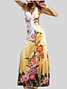 Pentru femei Boho Swing Rochie - Fără Spate, Floral Maxi