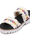 Femme Chaussures Tricot / Polyurethane Printemps ete Confort Sandales Talon Bas Bout ouvert Boucle Bleu / Rose / Rose dragee clair