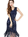 The Great Gatsby 1920s Roaring Twenties Costume Women\'s Flapper Dress Black / Blue / Golden Vintage Cosplay Chiffon Party Prom Sleeveless Knee Length / Sequins