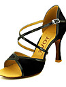 בגדי ריקוד נשים נעליים לטיניות / ריקודים סלוניים סטן / דמוי עור עקבים עקב מותאם מותאם אישית נעלי ריקוד שחור / אדום / צהוב